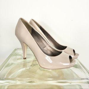 Fergalicious Nude peep toe, open toe heels 9
